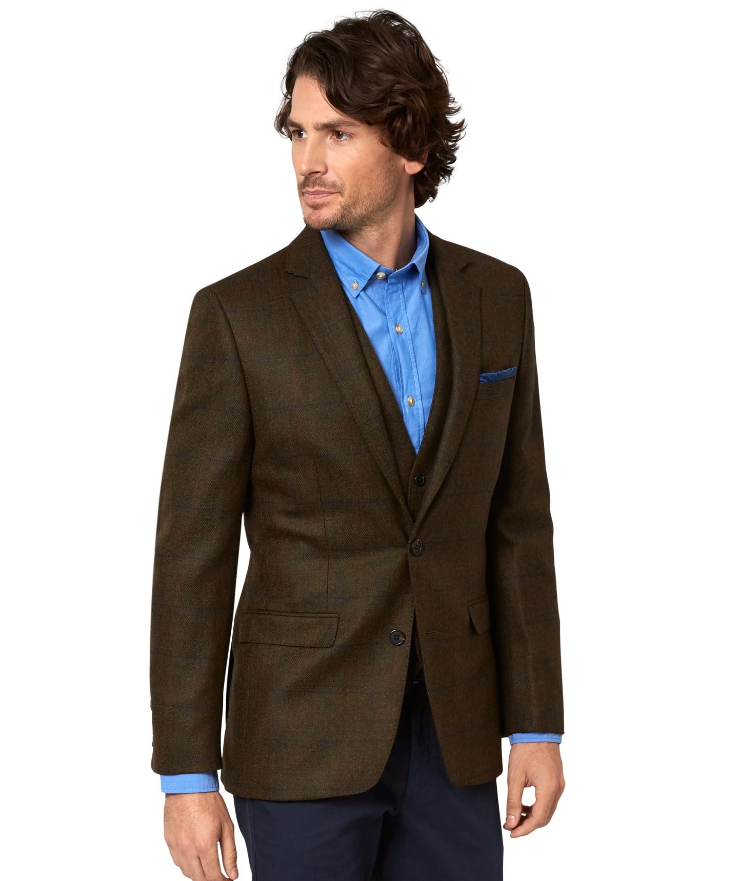 Moss 1851 Mens Dark Brown Check Suit Jacket Single Breasted Two ...