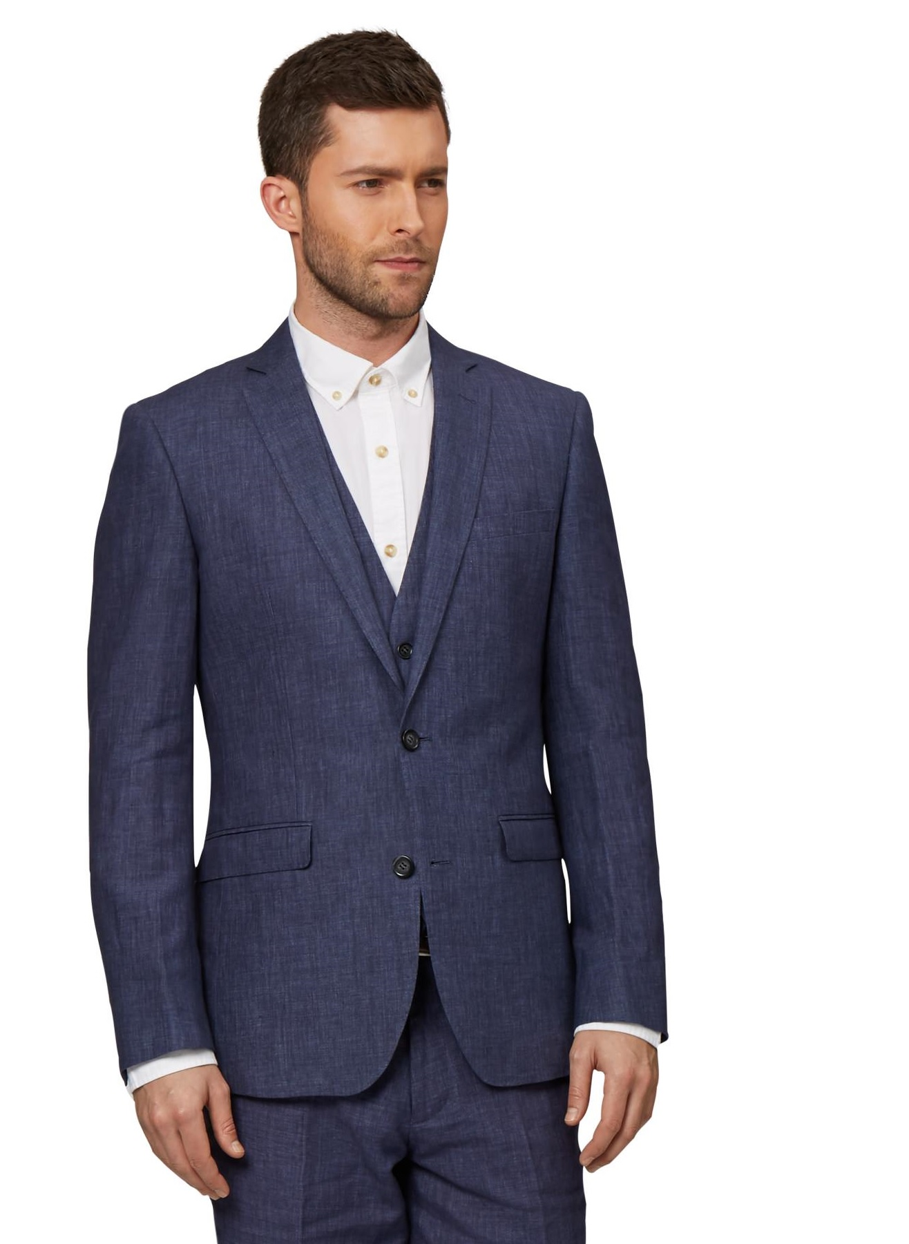 Moss 1851 Mens Indigo Blue Suit Jacket Tailored Fit Two Button ...