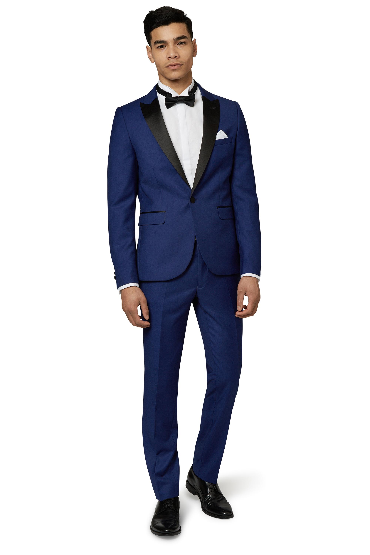 Moss London Mens Blue Tuxedo Slim Fit Suit Satin Peak Lapel Formal ...