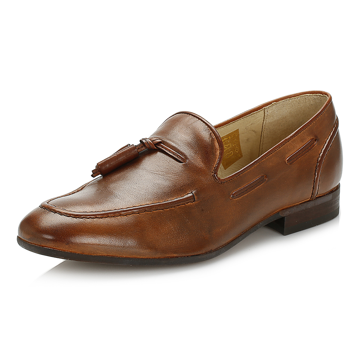 Hudson Mens Tassel Loafers, Tan Brown Leather, Casual ...