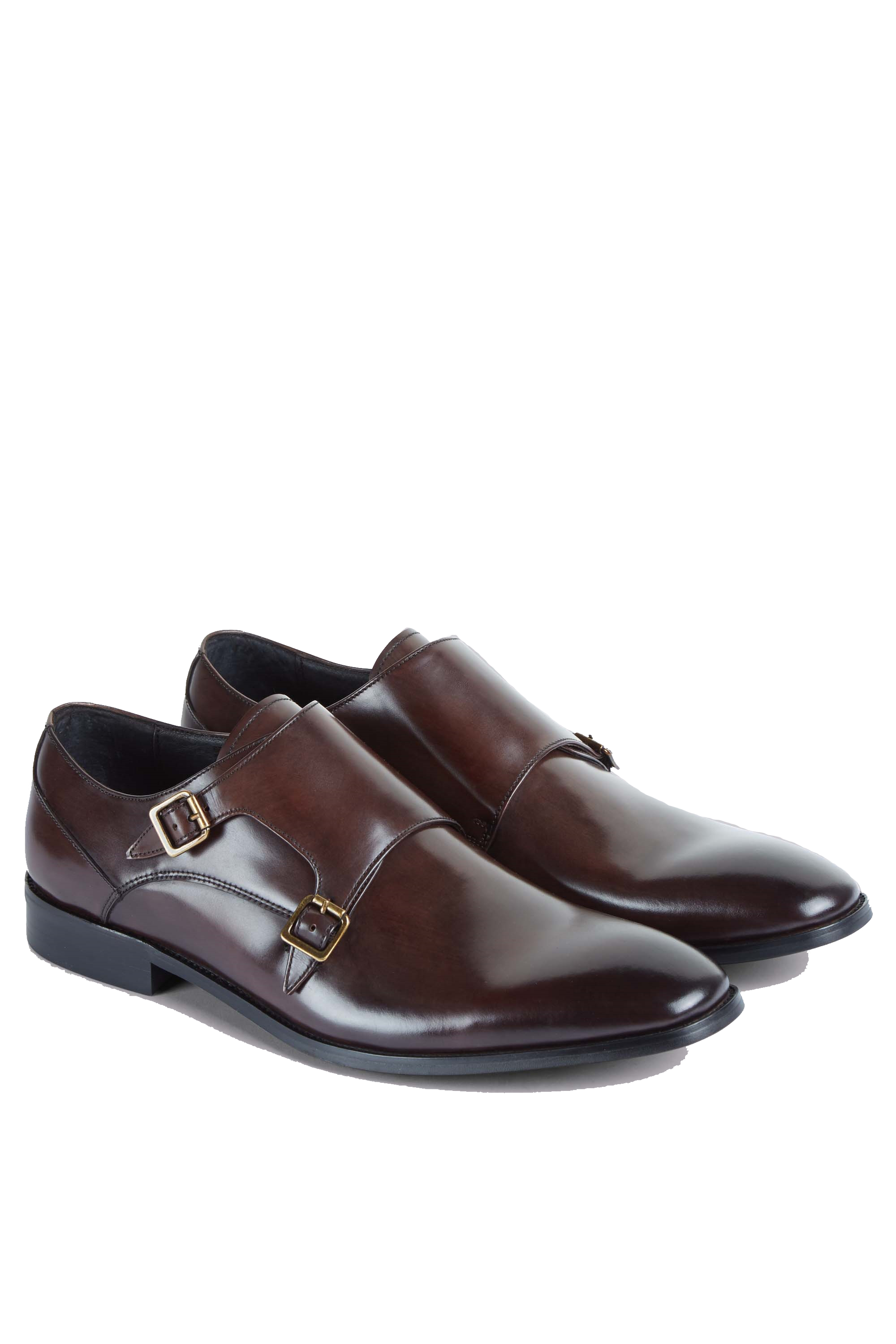 Brown Double Buckle Mens Shoes