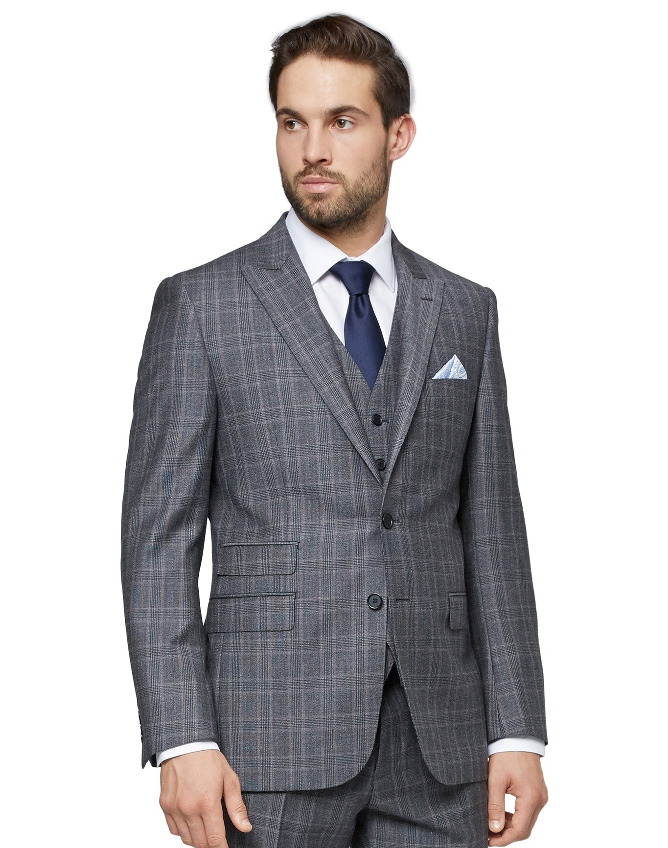 Savoy Taylors Guild Mens Grey Check Suit Jacket Regular Fit Pure ...