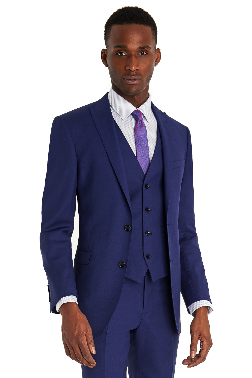 French Connection Mens Suit Slim Fit Bright Blue 3 Piece Dinner ...