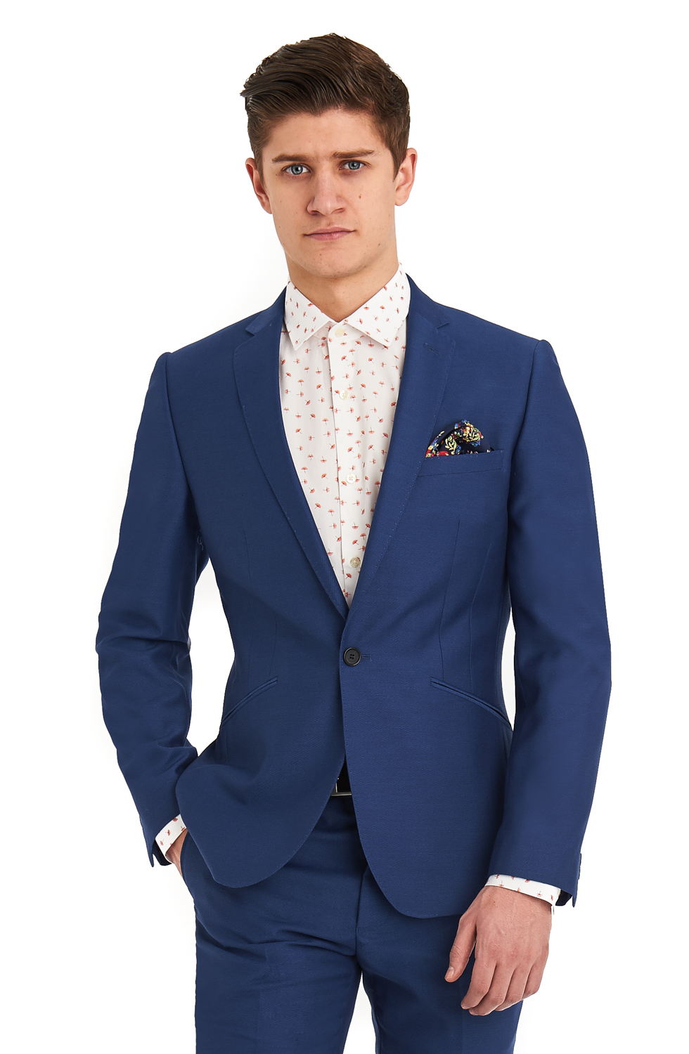 Moss London Mens Suit Slim Fit Bright Blue Formal 1 Button Single ...