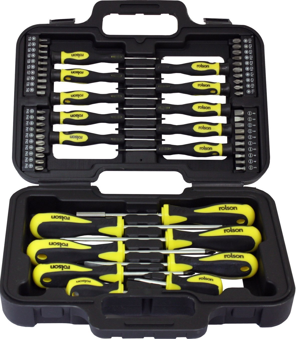 rolson screwdriver bit set 58 pcs cross star point bit holder home tools ebay. Black Bedroom Furniture Sets. Home Design Ideas