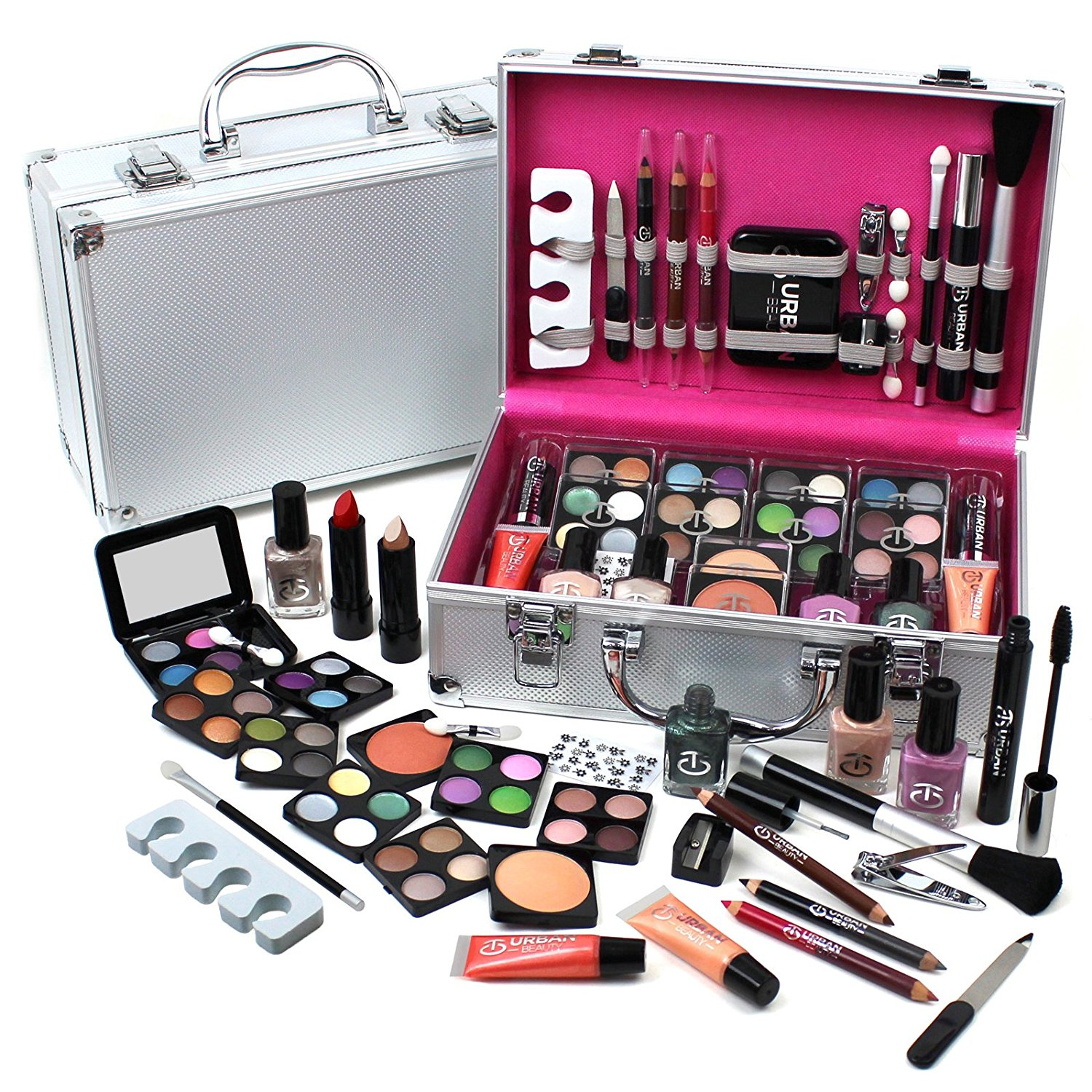 Urban Beauty Make Up Set Amp Vanity Case 60pcs Cosmetics Collection Amp Carry Box Ebay