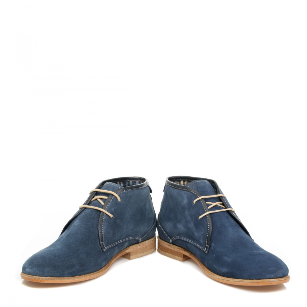 j g harrisons mens navy blue suede leather lace up casual