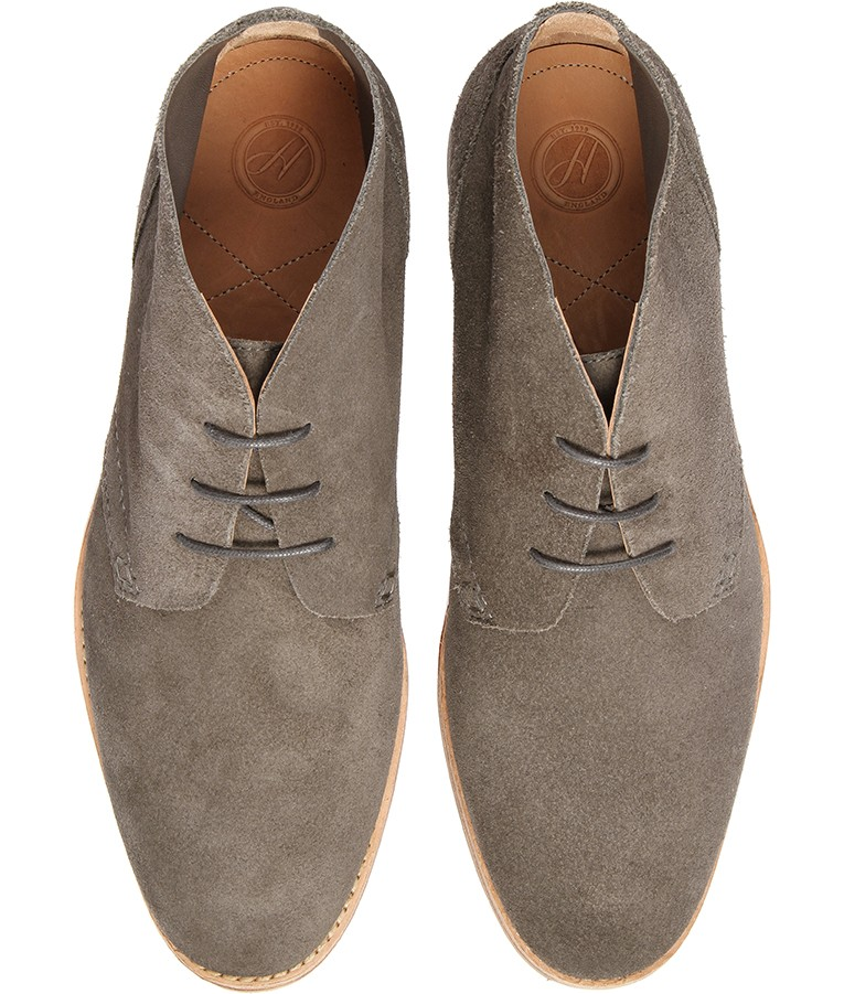 Hudson Mens Grey Suede Chukka Boots, Smart Casual Ankle Shoes ...
