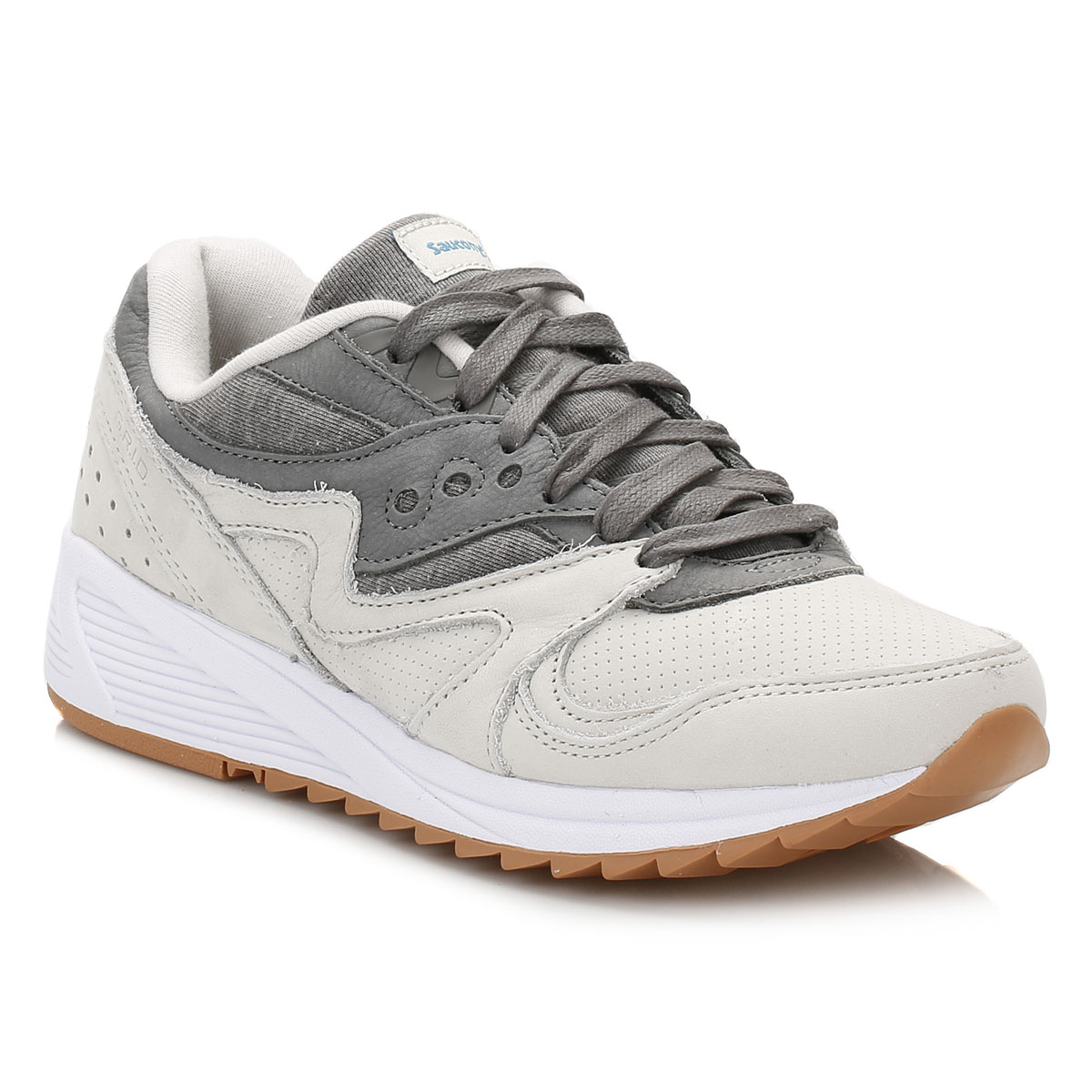 saucony unisex light grey grid 8000 trainers lace up