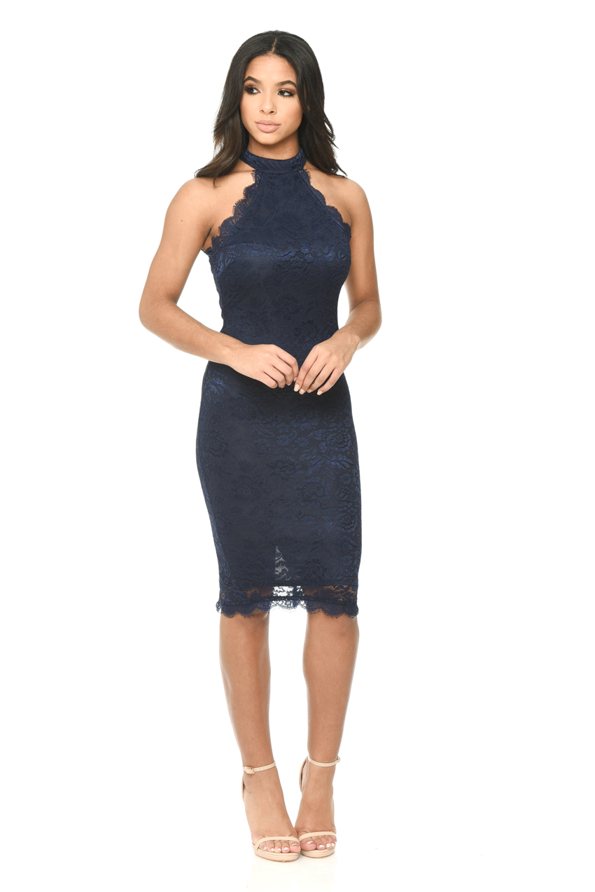 Navy Lace Dress. The soft feminine look of a navy lace dress is perfect for both casual and formal events. This slimming flirty design combines lacy edges with practical beauty. Lace dresses are made in soft knit that conforms to your curves comfortably.