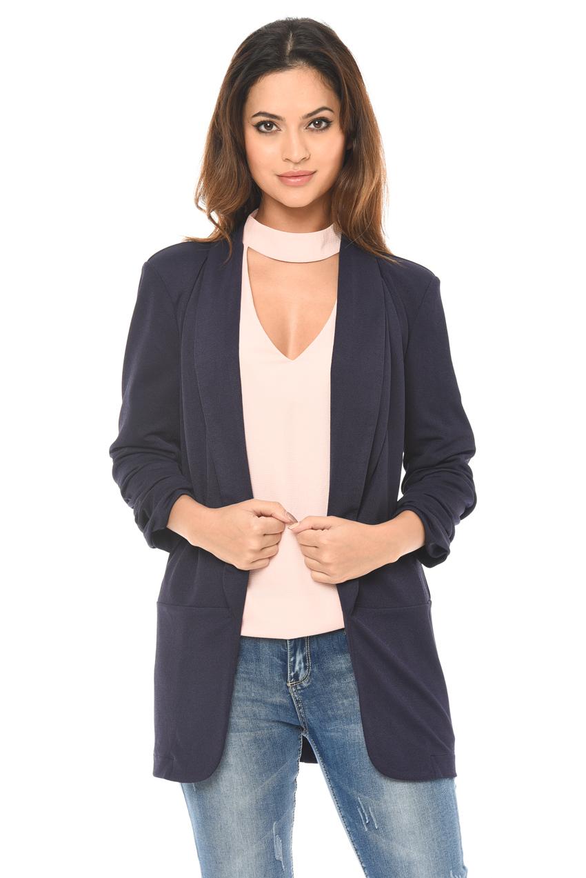 AX Paris Womens Womens Blazer Navy Blue 3/4 Ruched Sleeve Casual ...