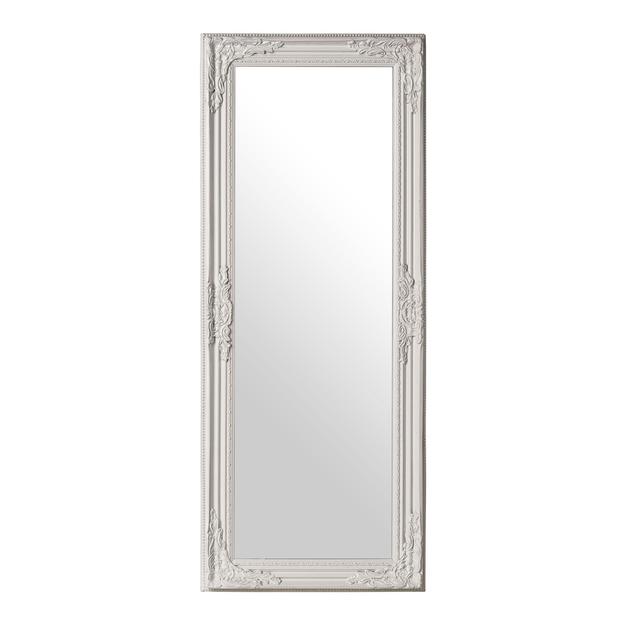 Premier chic vintage large wall mirror white finish for Full length wall mirror