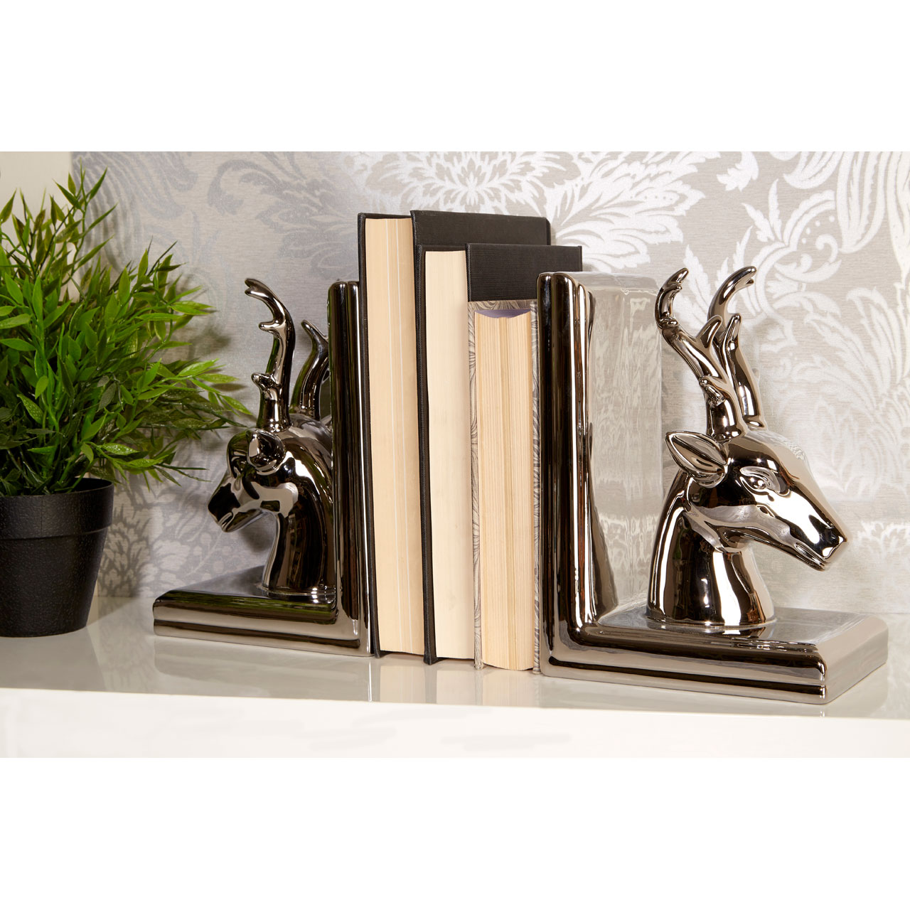 Premier housewares stag bookends silver dolomite set of 2 ebay - Stag book ends ...