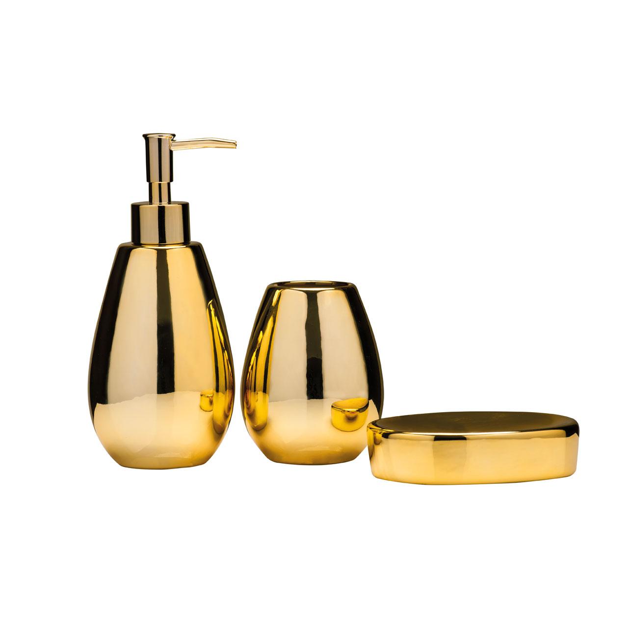 Premier housewares magpie gold bathroom accessory set for Gold bathroom accessories sets