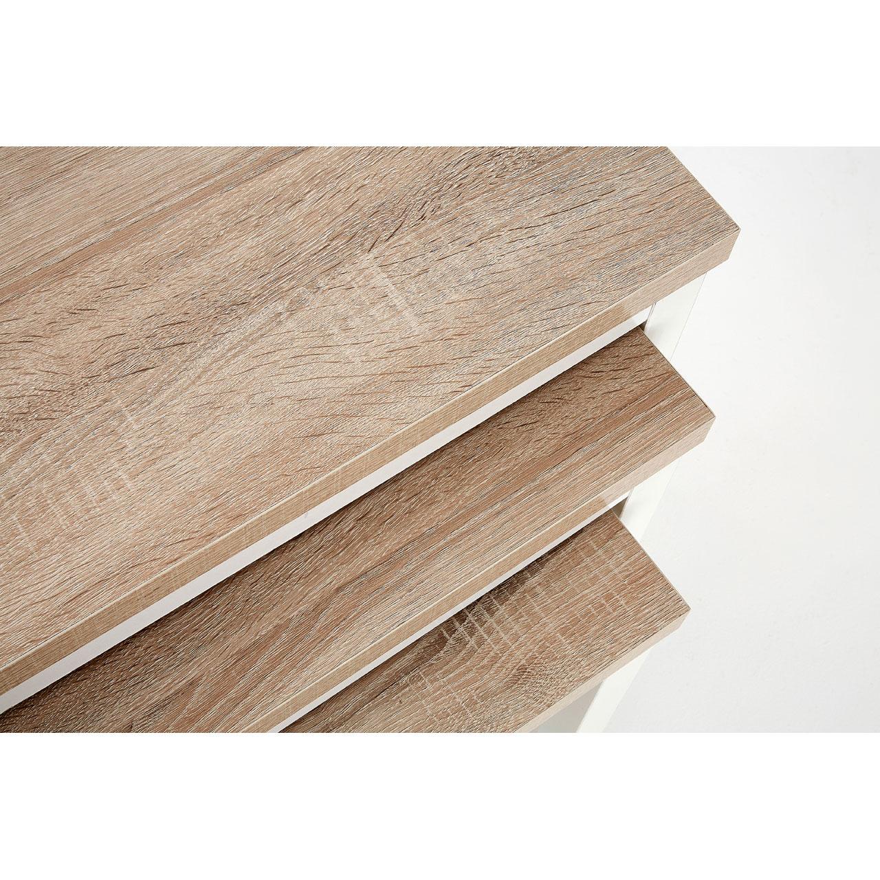 Premier nest of side tables brown oak veneer top white