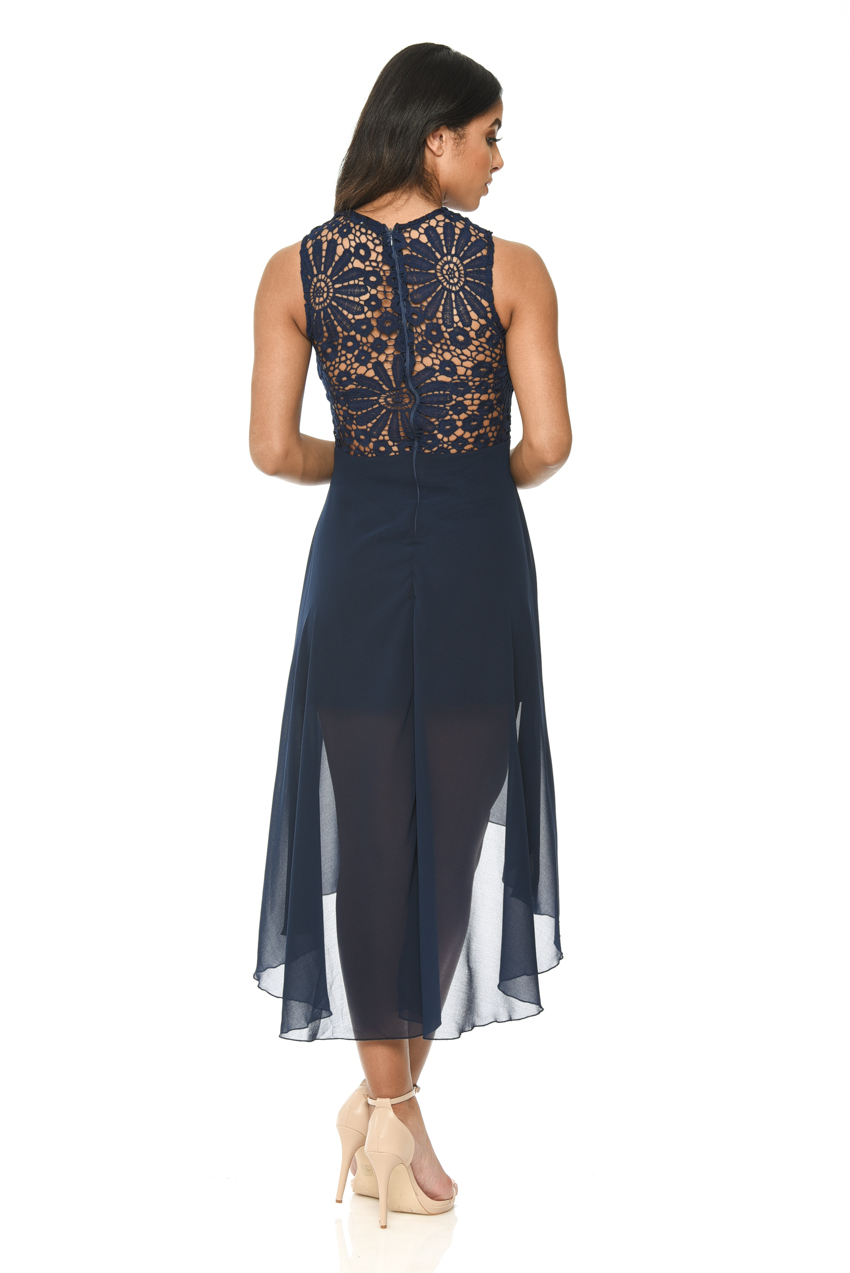 ax paris womens blue chiffon midi dress lace neckline