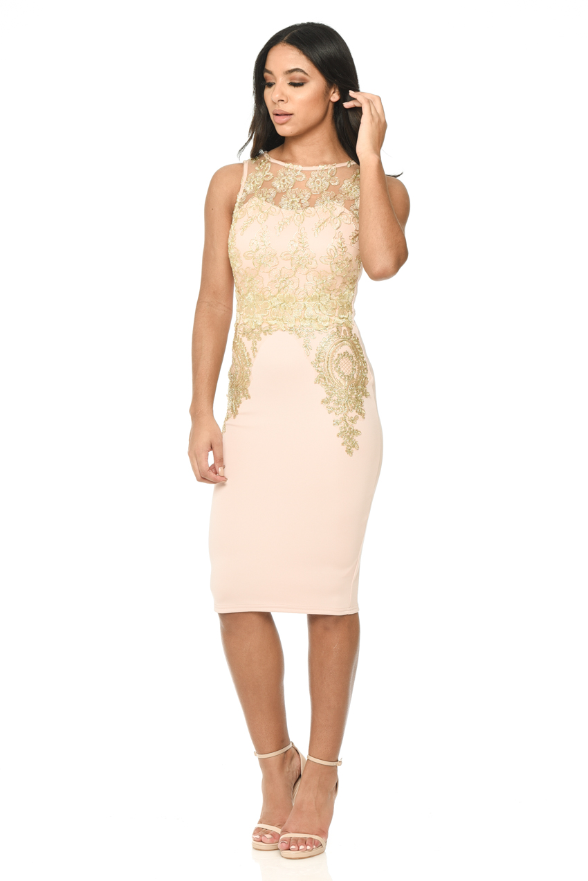 93fa0429ba6 AX-Paris-Womens-Midi-Bodycon-Dress-Pink-and-