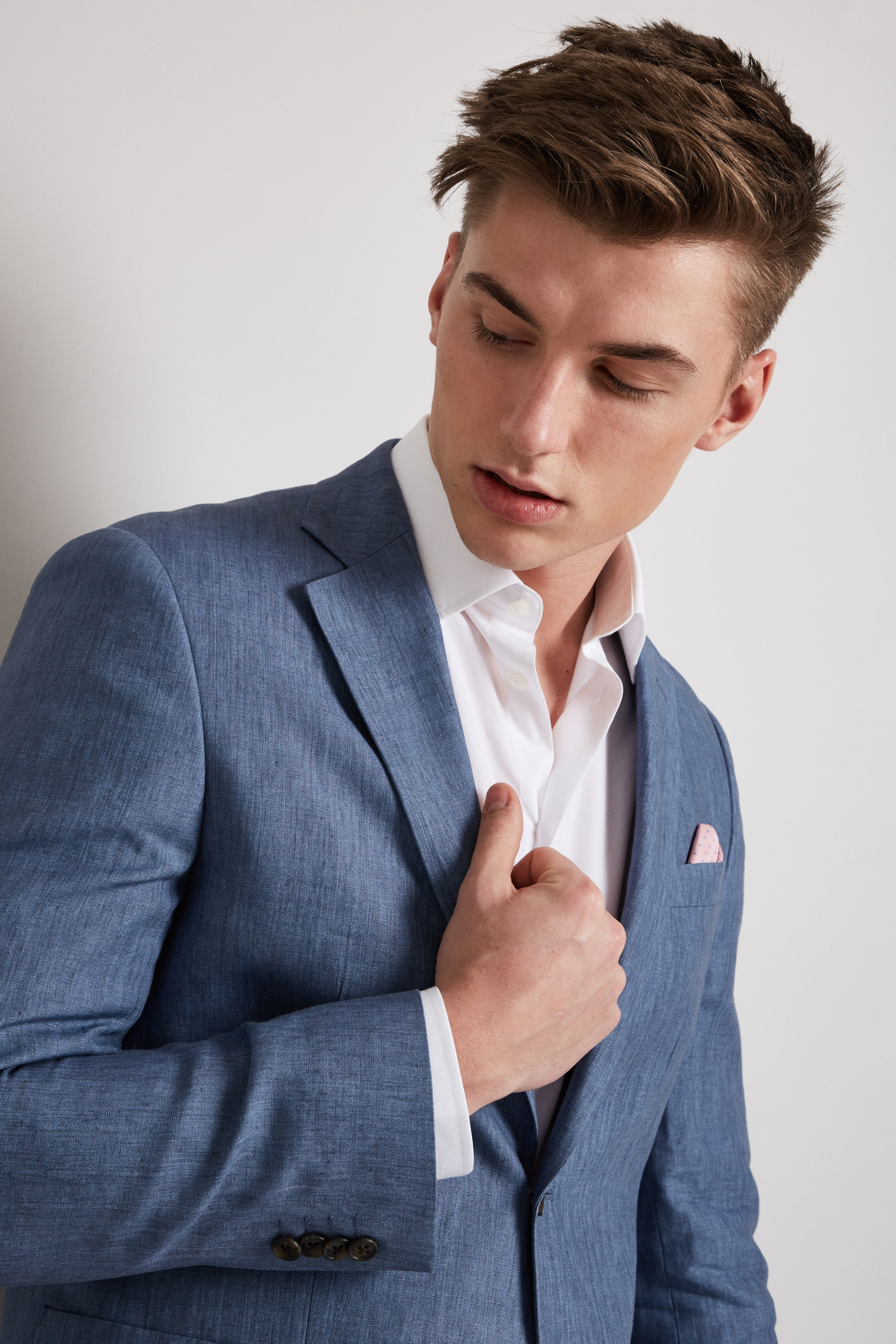Hardy Amies Mens Suit Jacket Mid Blue Linen Single Breasted