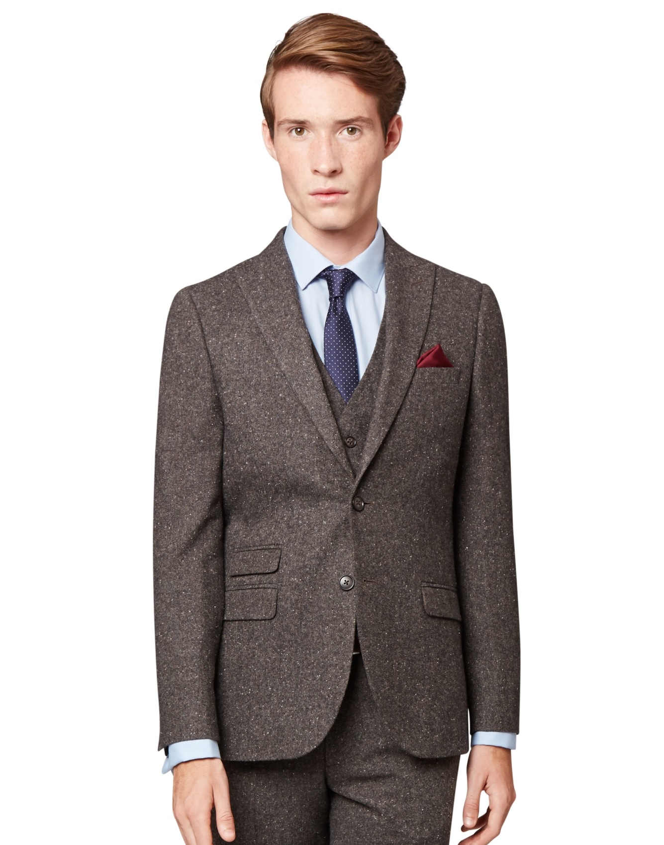 Moss London Mens Charcoal Grey Suit Jacket Skinny Fit Donegal ...