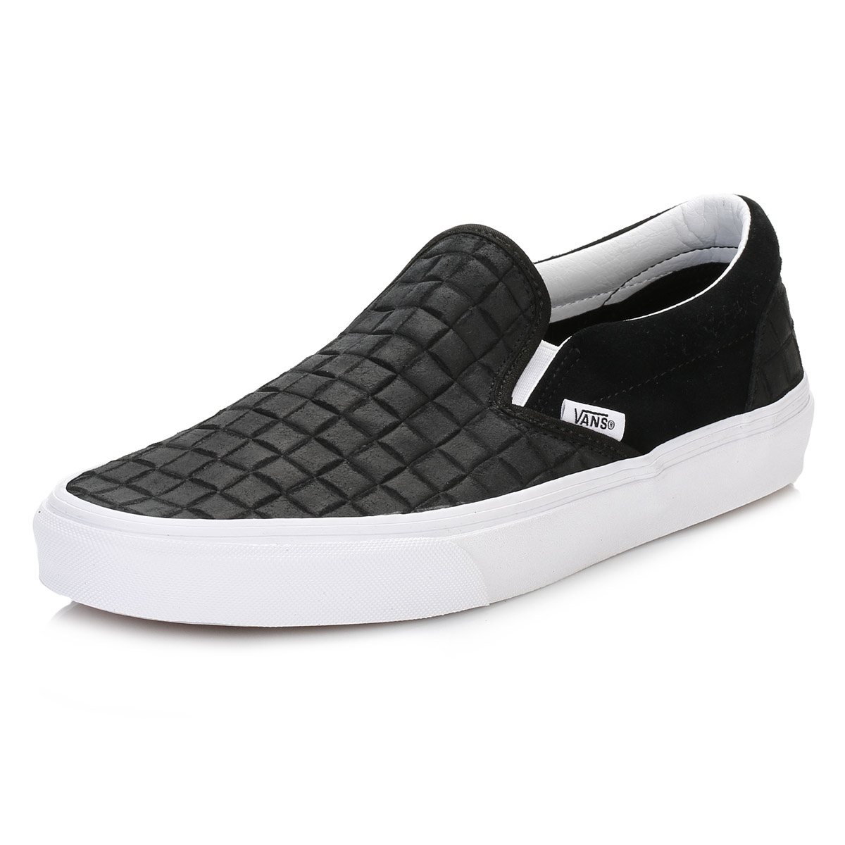 Vans Mens Black Trainers, Suede Checkers, Classic Slip On ...