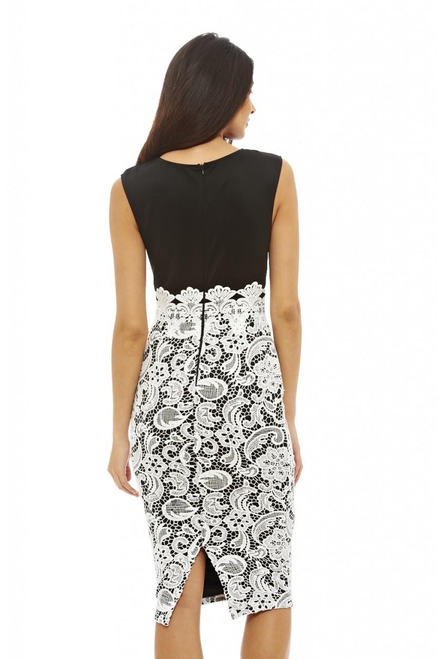 ax paris womens black amp cream midi dress lace skirt