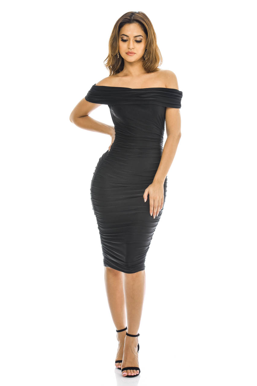 Lyst - AX Paris Off Shoulder Skater Dress In Stripe in Black