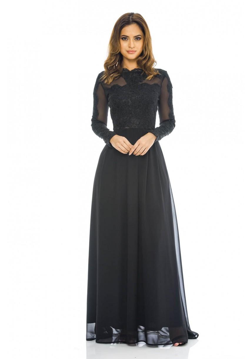 1ac29a5cc AX Paris Womens Black Chiffon Maxi Dress, Lace & Mesh Top, Long ...