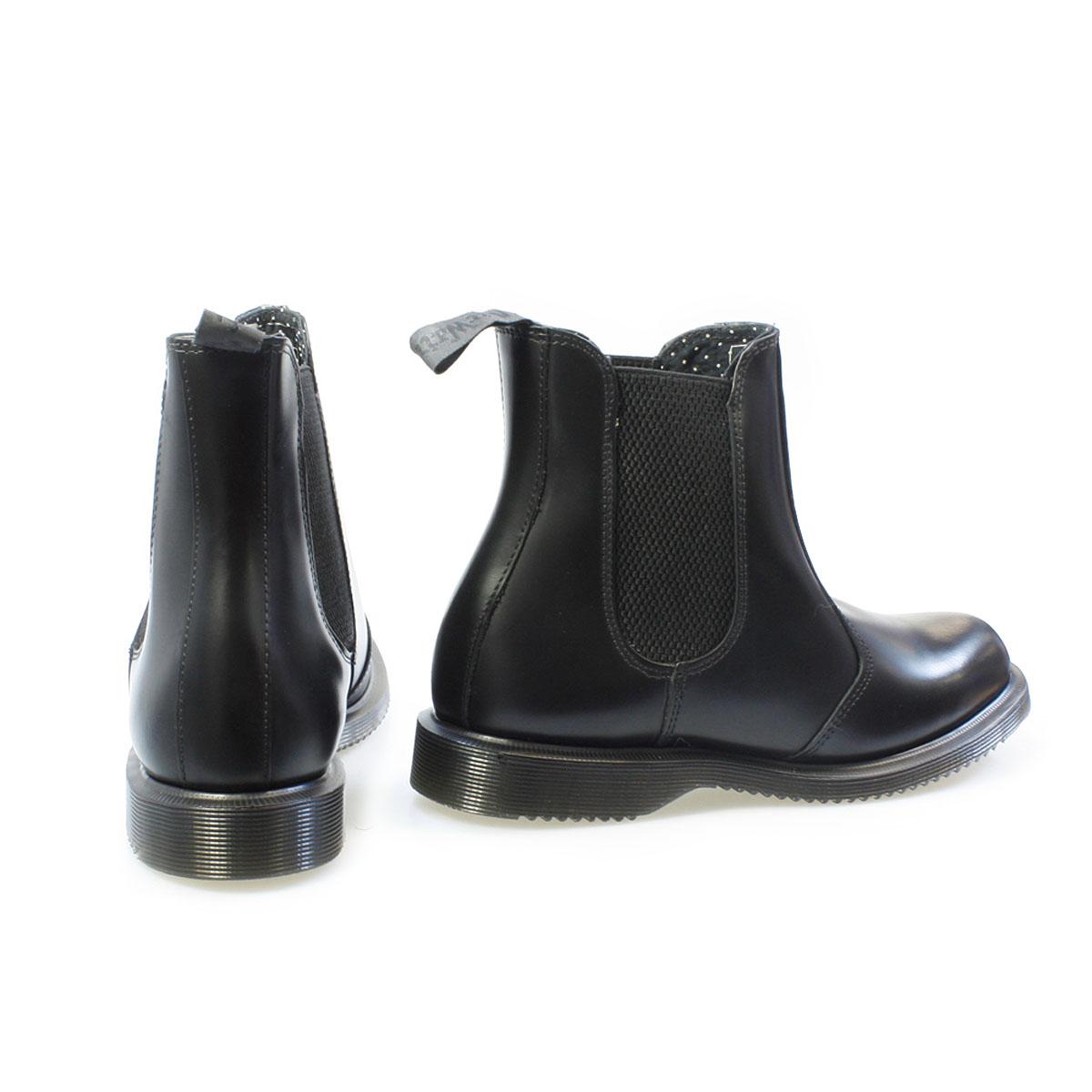 dr martens womens ankle boots black flora polish kensington leather chelsea ebay. Black Bedroom Furniture Sets. Home Design Ideas