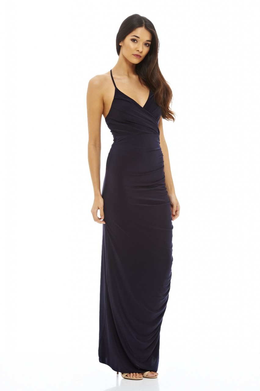 Ax paris womens navy blue ruched slinky maxi dress ladies for Navy maxi dresses for weddings