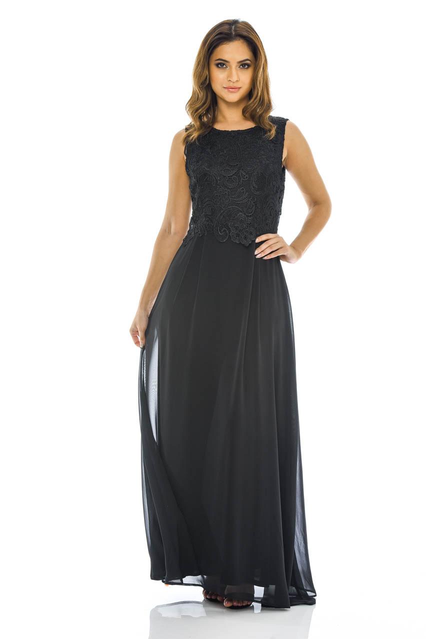 AX Paris Womens Chiffon Maxi Dress, Crochet Lace Top