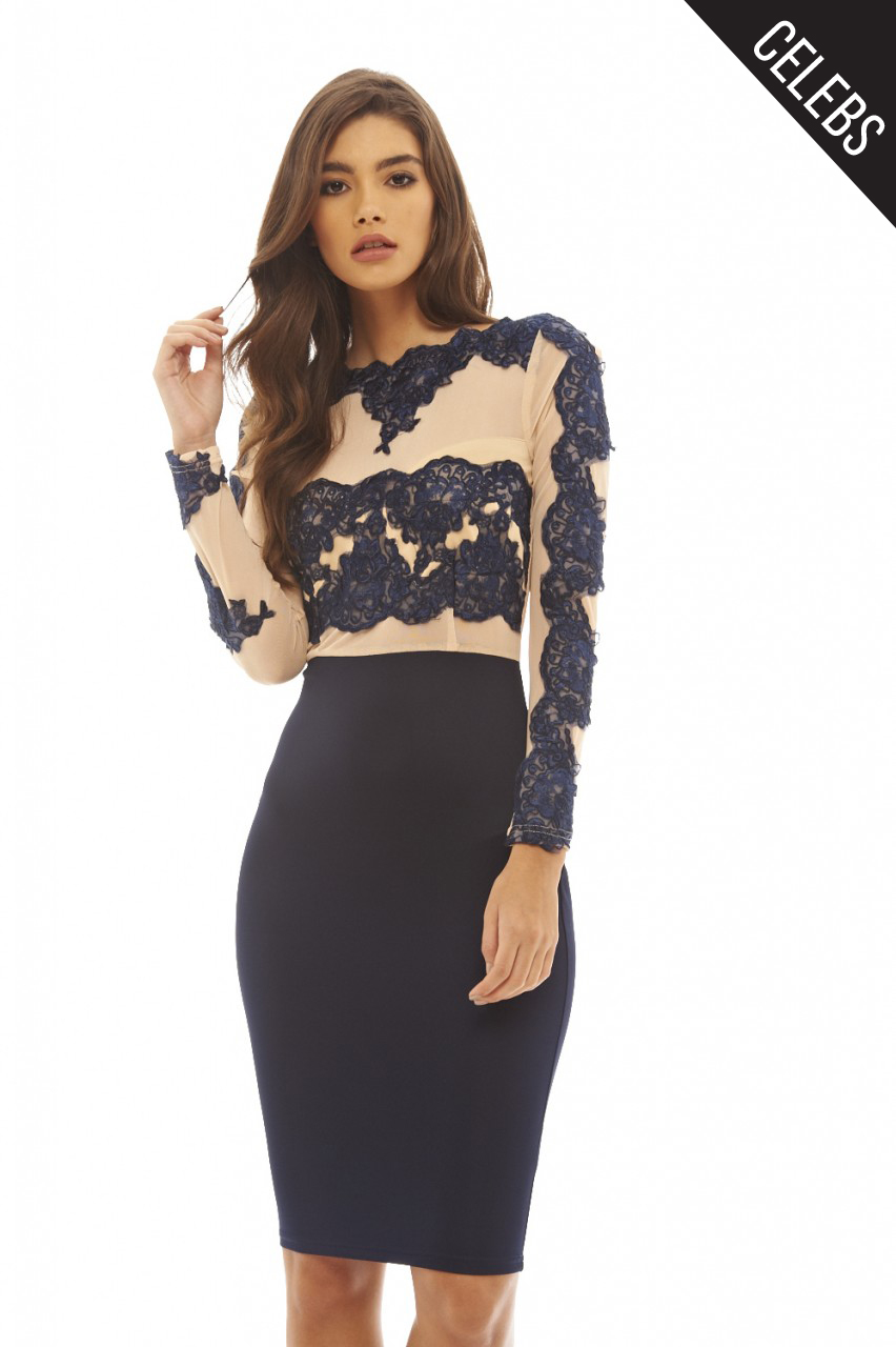 ax paris womens navy blue midi dress lace amp mesh ladies