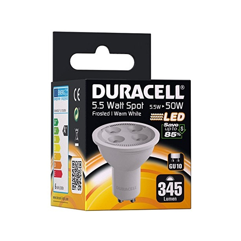 duracell gu10 5 5w 50w led bulb spot frosted warm light 345 lumens ebay. Black Bedroom Furniture Sets. Home Design Ideas