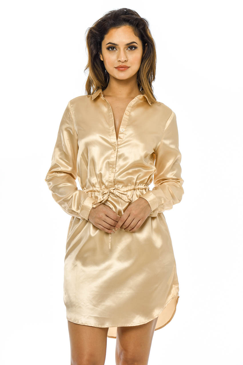 Ax paris womens satin mini shirt dress tie waist long Women s long sleeve shirt dress