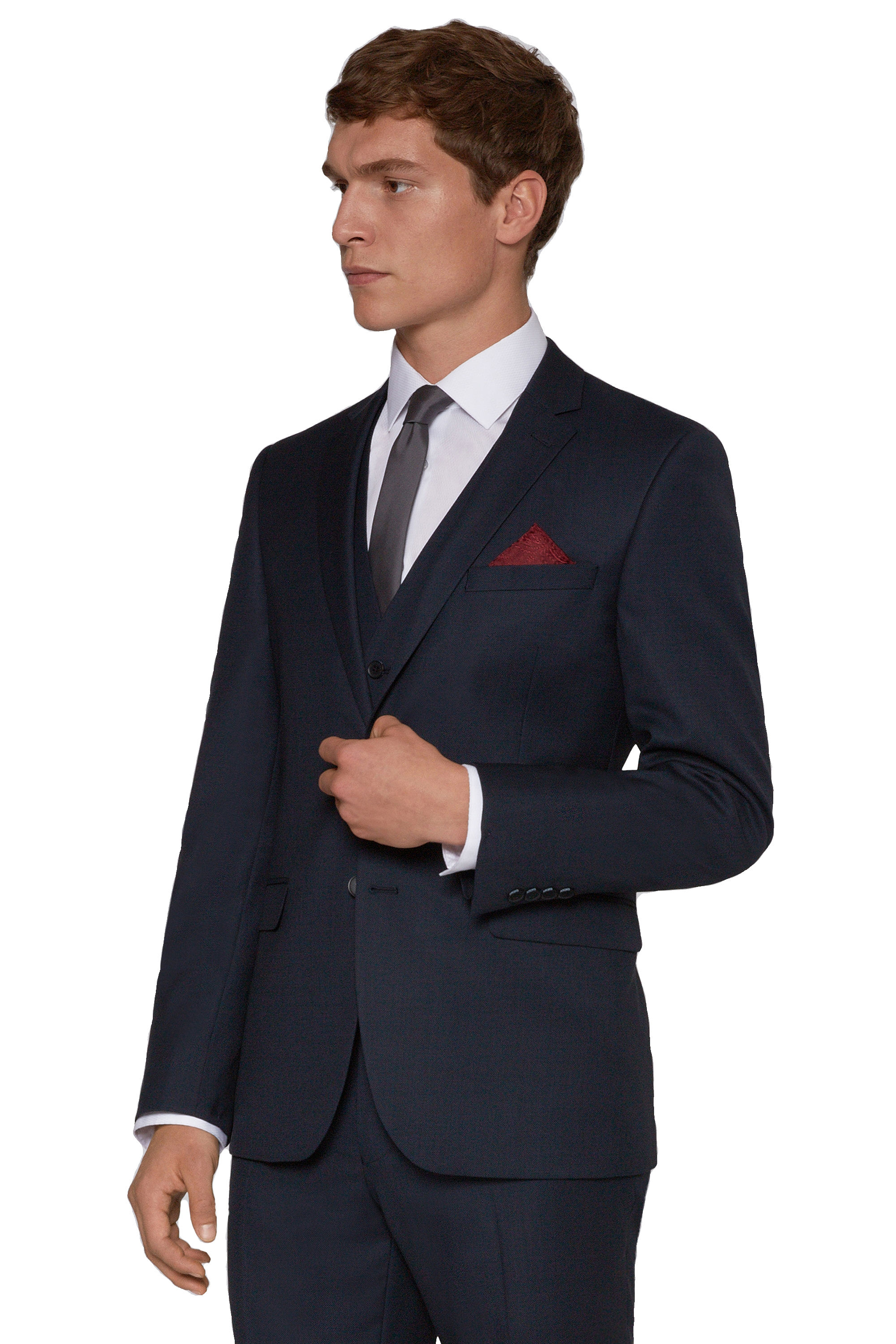 DKNY Mens Navy Blue Suit Jacket Slim Fit Single Breasted Two ...