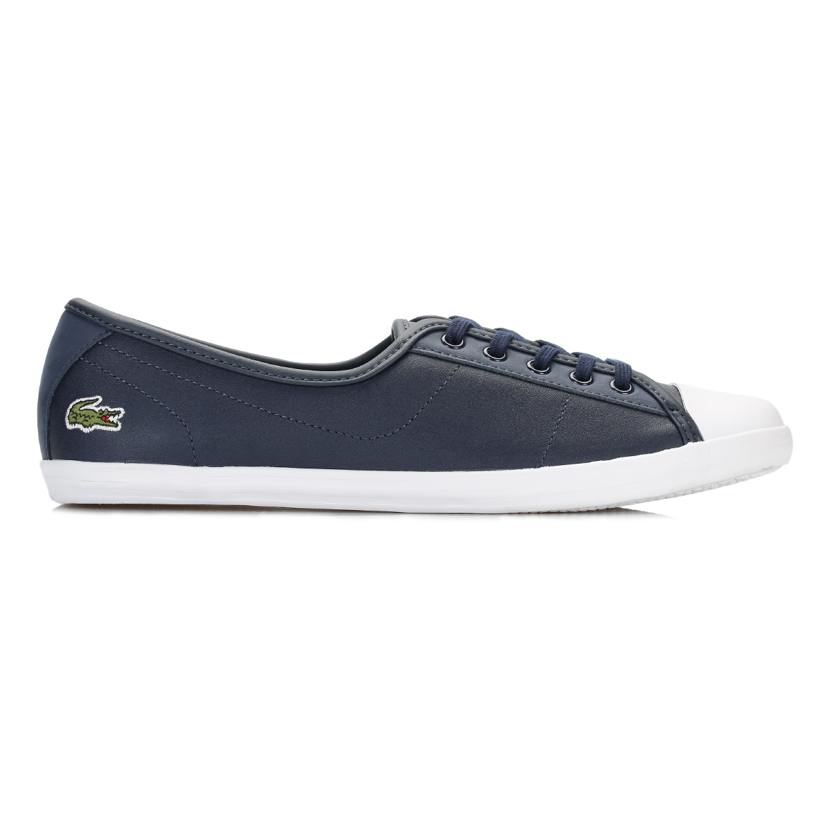 Azul Marino para Mujeres Lacoste Ziane BL 1 Carro Entrenadores Cuero Informal Zapatos Sin taco