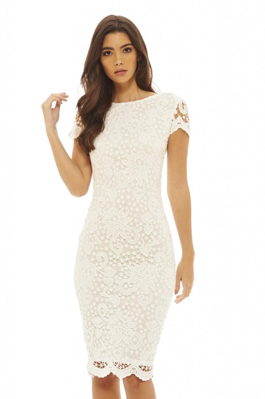 ax paris womens crochet lace midi bodycon dress ladies