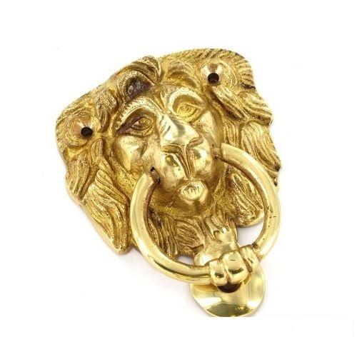 Securit lion head door knocker 100mm solid brass finish polished ebay - Brass lion head door knocker ...