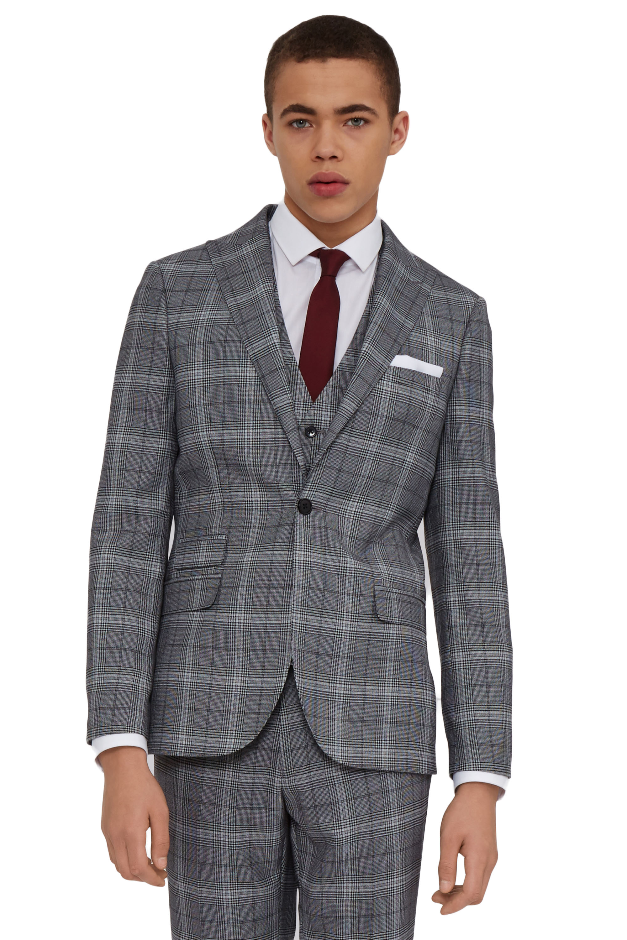 Moss London Mens Grey Check Suit Jacket Skinny Fit Single Breasted ...