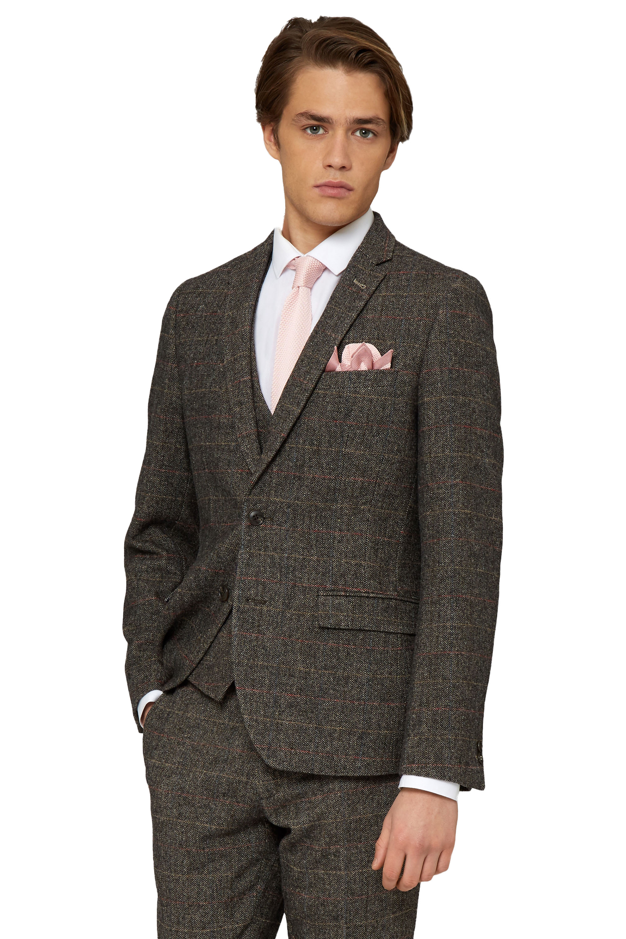 Moss London Mens Brown Check Suit Jacket Slim Fit Single Breasted ...