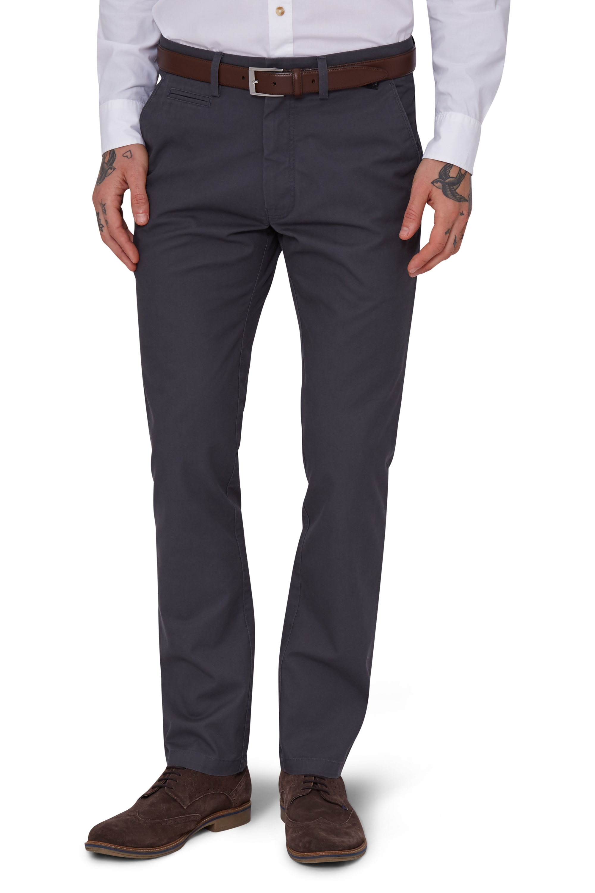 Moss 1851 Mens Slate Grey Chinos Tailored Fit Cotton Trousers ...