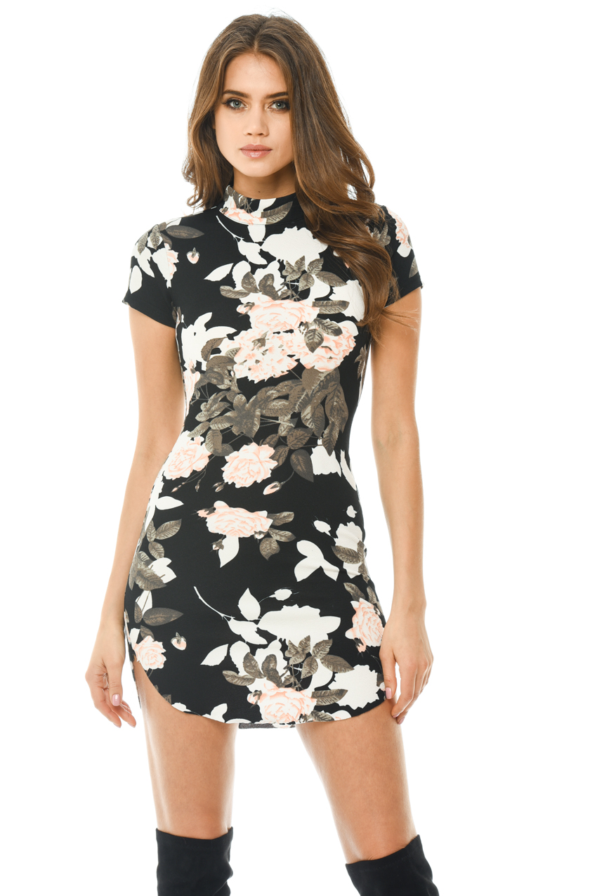 AX Paris Womens Black Mini Dress Floral Printed Capped Sleeve Bodycon Party | EBay