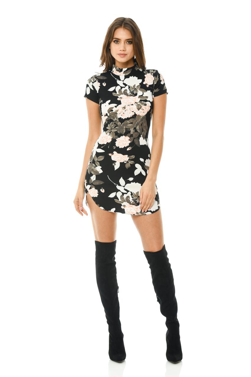 ax paris womens black mini dress floral printed capped