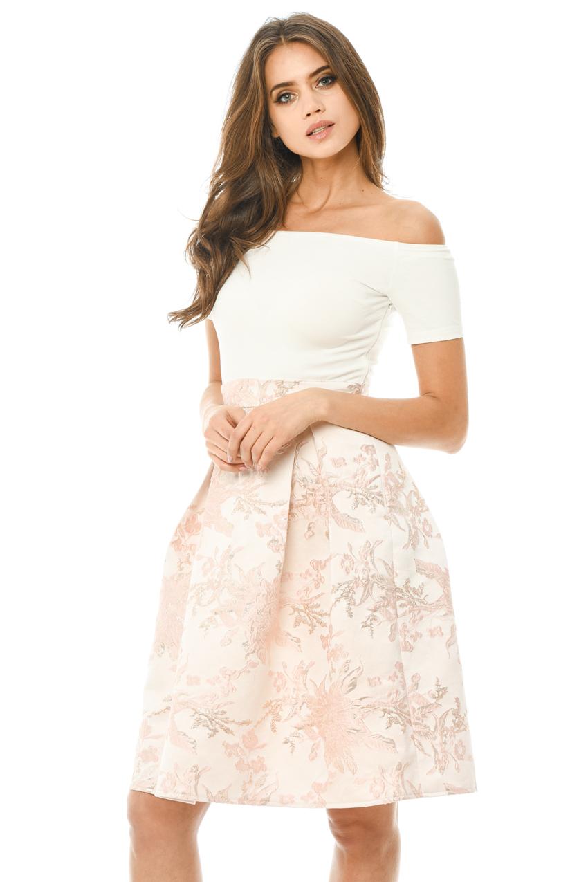 AX Paris Womens Cream Sheer Floral 2 In 1 Dress Glamorous