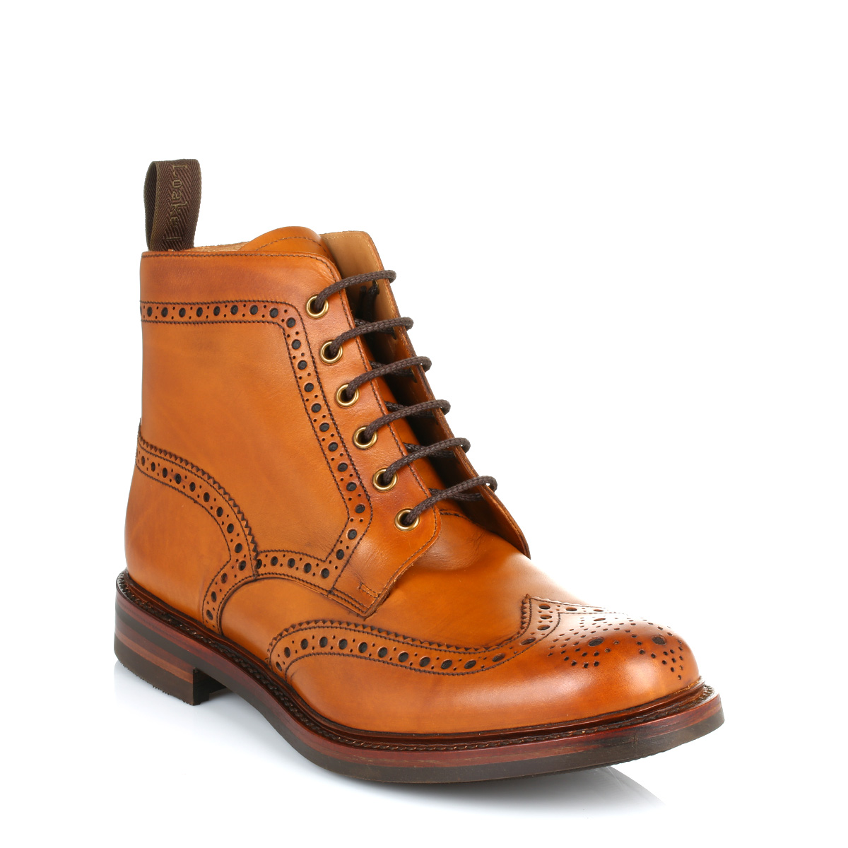 loake mens brown bedale leather brogue ankle boots