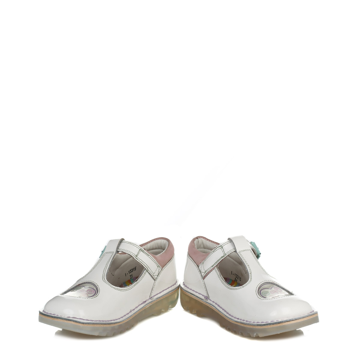 kickers white kick t bar leather shoes buckle