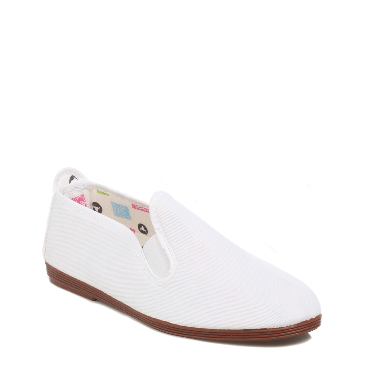 flossy womens casual shoes flats unisex white canvas slip