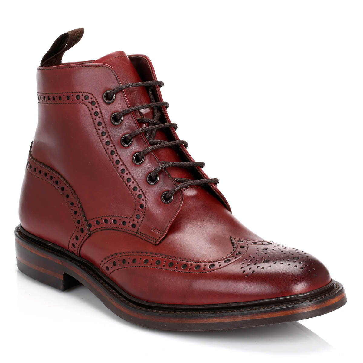 loake mens ankle boots burgundy burford dainite calf