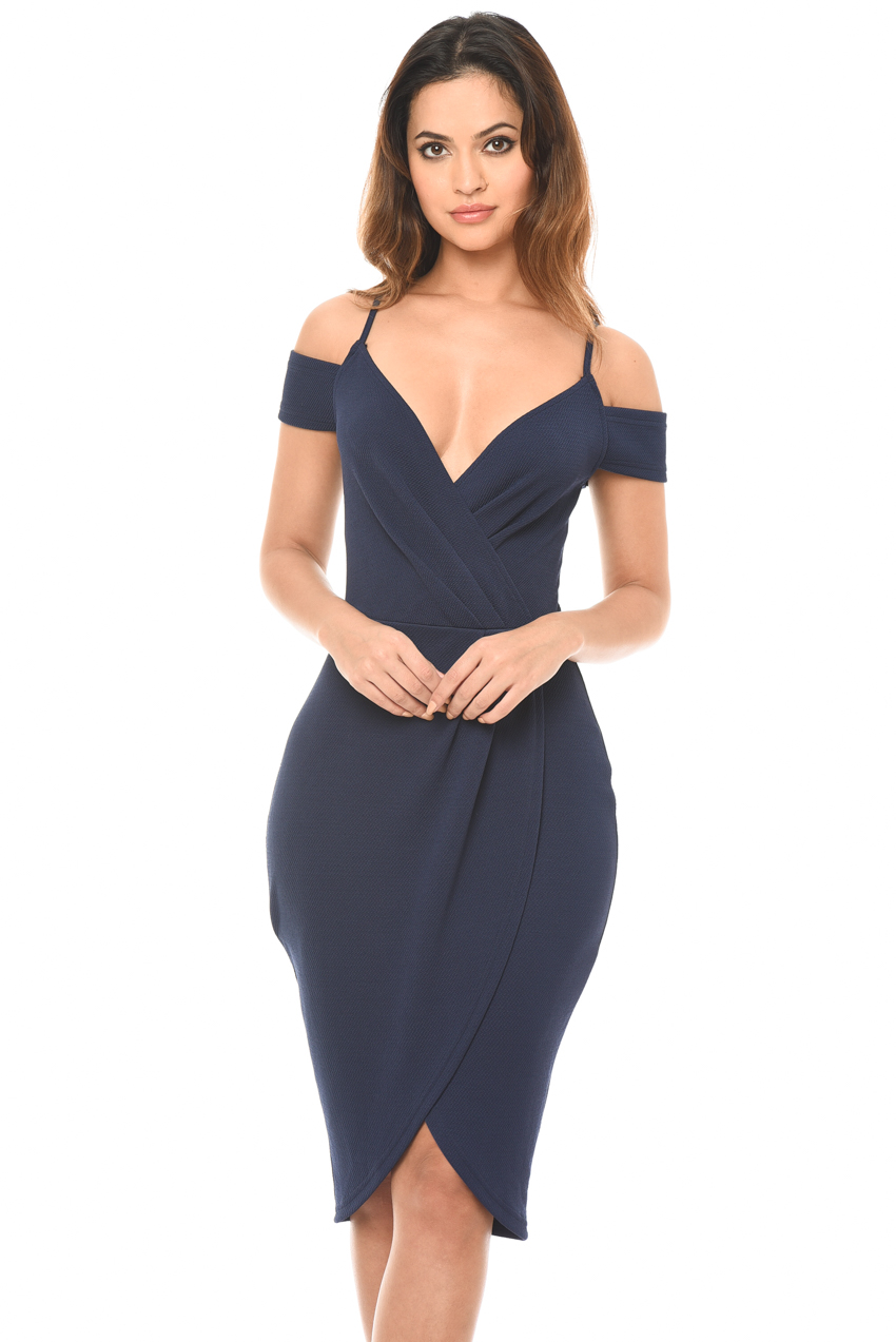596d4d1c77f7d Image is loading AX-Paris-Womens-Navy-Blue-Wrap-Bodycon-Dress-