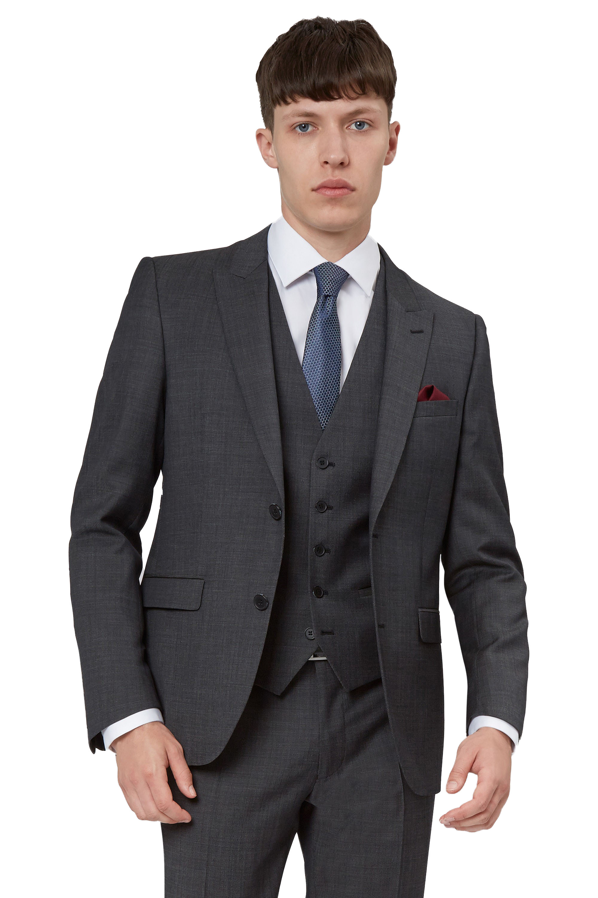 DKNY Mens Grey Suit Jacket Slim Fit Pindot Textured Two Button ...