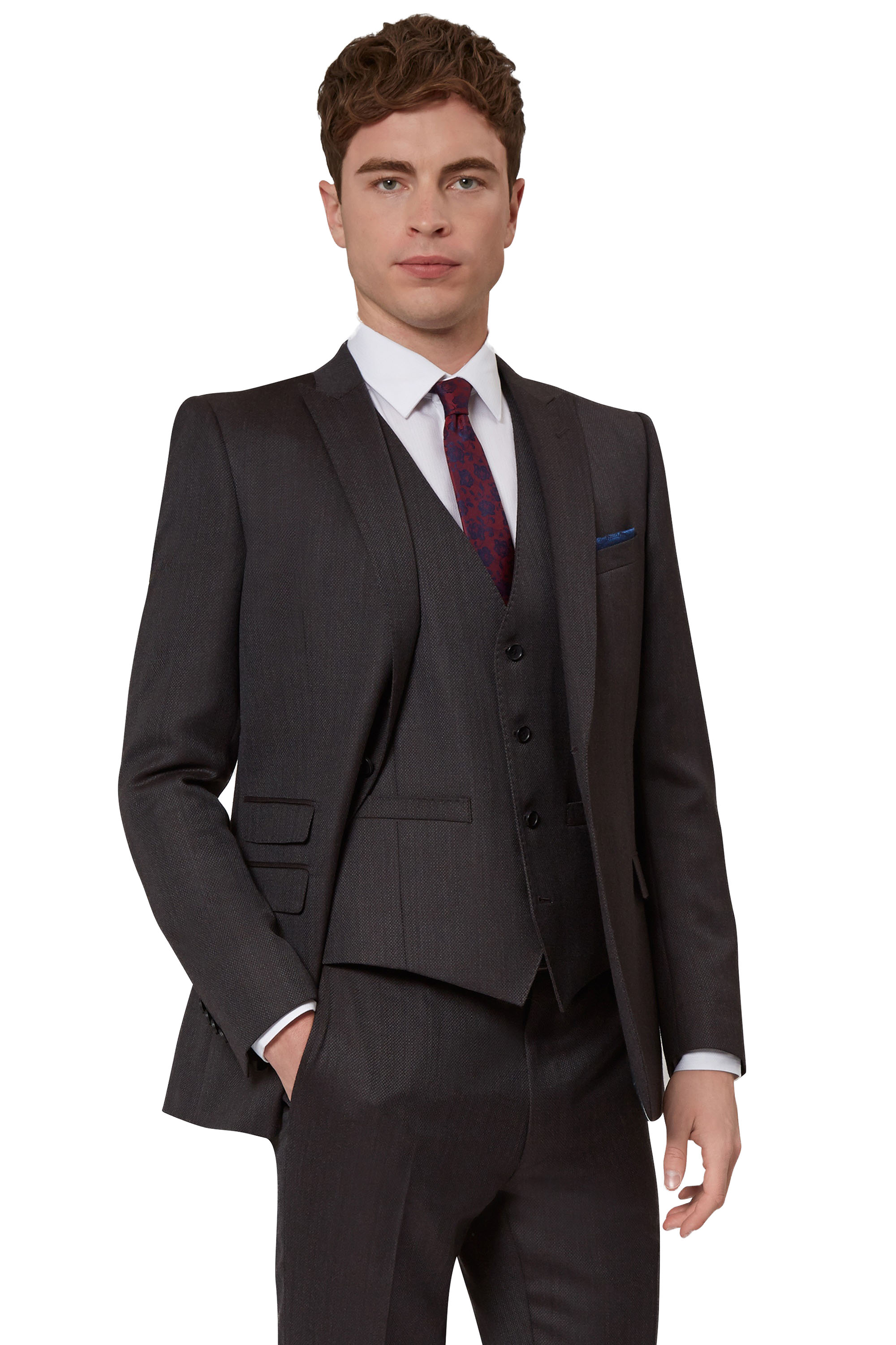 French Connection Mens Brown Suit Jacket Slim Fit Textured Two ...